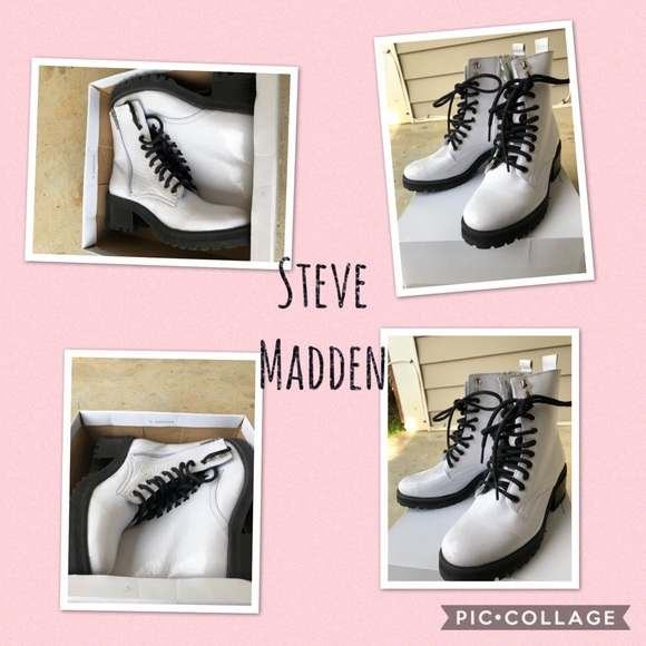 ad1a0862218 Steve Madden White Patent Leather Geneva Boots